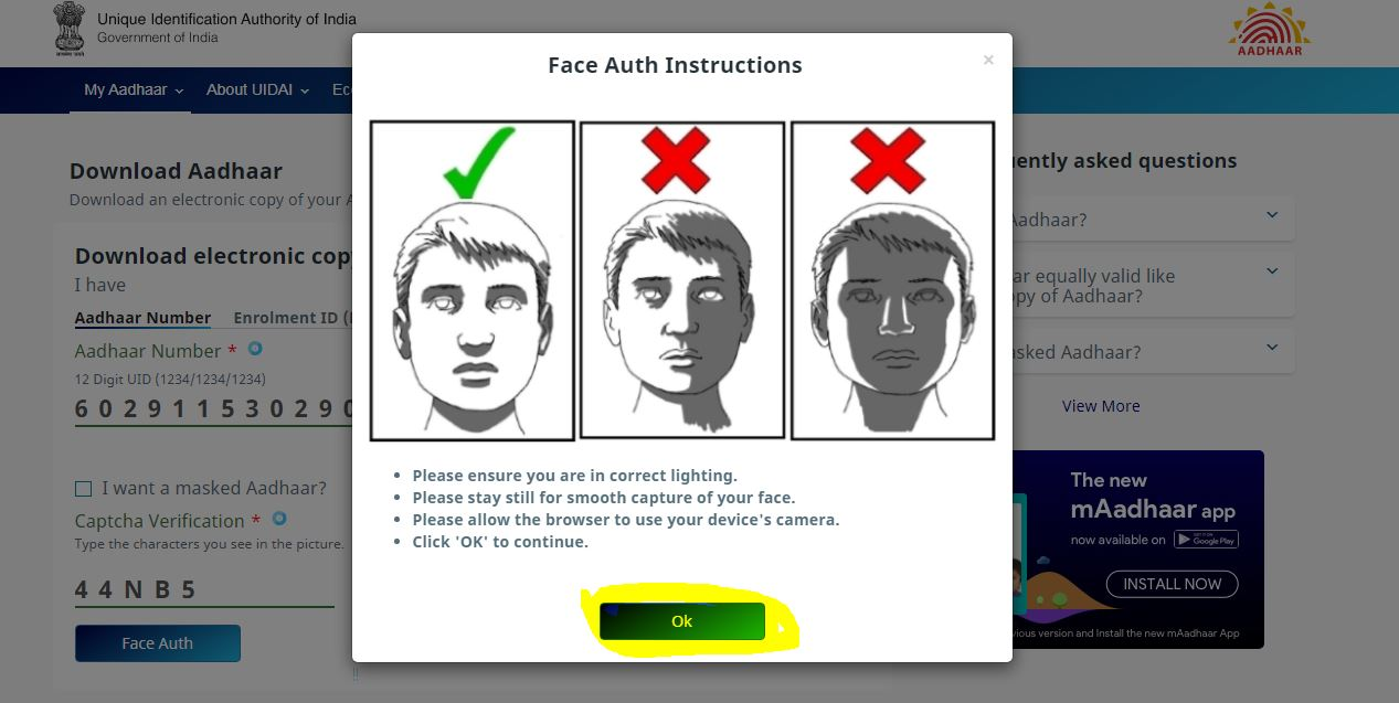 Aadhaar card download face with Authentice