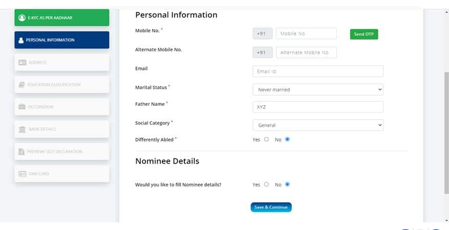 NDUW Enter Personal Information PAge